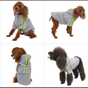 NWOT Gray Reflective Dog Raincoat